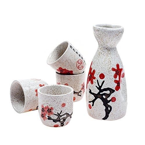 Plum Blossom Bottle (Kloud City ® Pack of 5 Set Ceramic Plum Blossom Sake Set For Gathering)