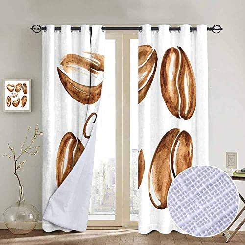 Coffee Blackout curtains - gasket insulation Watercolor Effect Beans Breakfast Drink Brush Strokes Pattern Abstract Artistic Blackout curtains for the living room W96 x L108 Inch Caramel White