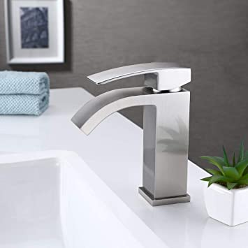 Kes Bathroom Faucet Single Handle One Hole Vanity Sink Faucet Cupc Nsf Certified Brass Construction Brushed Nickel L3109alf Bn