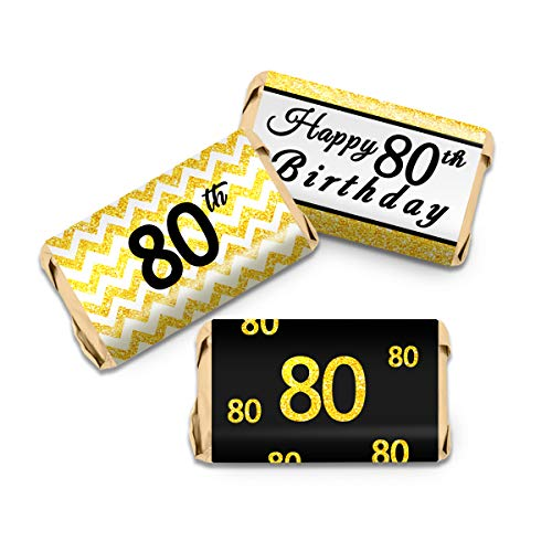 80th Birthday Party Mini Candy Bar Wrappers - Black and Gold - 63Stickers - Mini Bar Wrapper