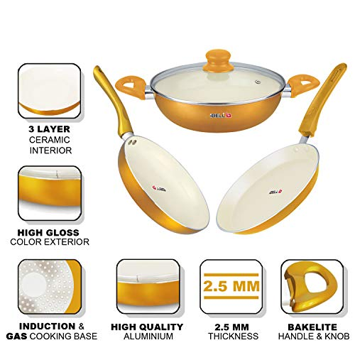 IBELL-Premium-Non-Stick-Ceramic-Induction-Base-Fry-Pan-Tawa-Wok-and-Glass-Lid-Cookware-Set-Combo-Golden