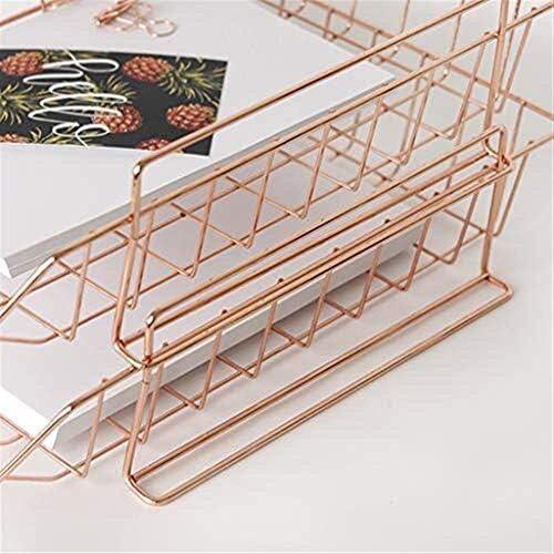 AGWa Aktenhalter Metall Briefablage Mesh Schreibtisch Aufbewahrungsbox 2 Schichten Stapelbar A4 Dokumentenmagazin Aktenhalter Aktenablagekorb, Rotgold