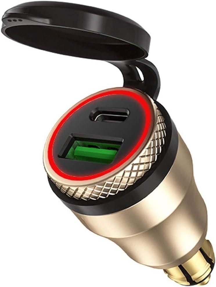 LouiseEvel215 12V-24V QC3.0 USB Type C PD Adaptateur dalimentation /à Charge Rapide Chargeur Hella DIN EU Prise de Courant pour Ducati Moto B8