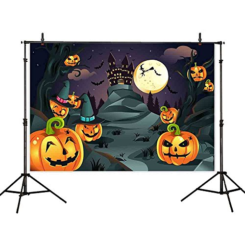 Allenjoy 7x5ft Halloween Themed Photography Backdrop far sinister castle pumpkin head flying bats under moonlight Background Photo Studio Booth Photographer -
