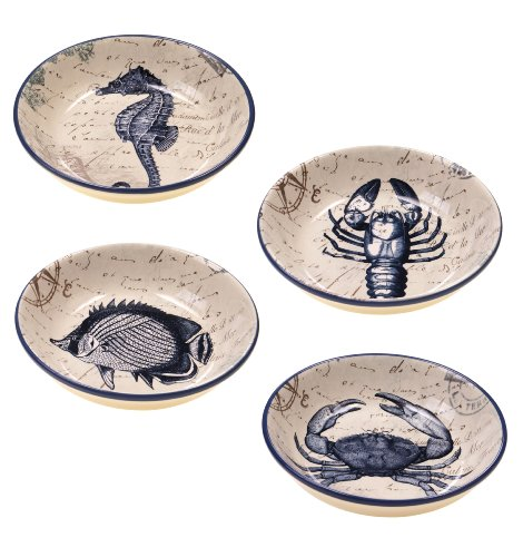 Certified International Large Soup or Pasta Bowls, Coastal Postcards Collection, 9.25 Inch, Set of 4 Assorted Designs