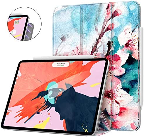 MoKo Smart Folio Case Fit iPad Pro 12.9 2018 - [Support Magnetically Attach Charge/Pair] Slim Lightweight Smart Shell Stand Cover Strong Magnetic Adsorption Auto Wake/Sleep - Peach Blossom