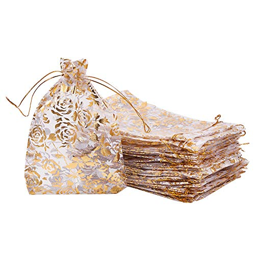 PH PandaHall 50pcs 5 x 7 Inches Golden Rose Flower Printed Organza Bags Jewelry Pouch Bags Organza Drawstring Pouches Wedding Favors Candy Gift Bags