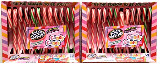(Jolly Rancher Candy Canes in Bold Fruit Smoothie Flavors, 6.3-Ounce Boxes, 12-Count Packages (Pack of 2) )