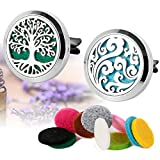 essential oil car diffuser - Maromalife Essential Oil Car Diffuser Vent Clip Locket 316L Stainless Steel Diffuser Locket Tree & Cloud 2Pcs