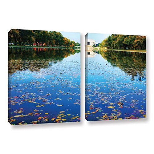 ArtWall 2 Piece Steve Ainsworth's Lincoln Memorial and Reflecting Pool I Gallery Wrapped Canvas Set, 32 x 48
