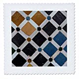 3D Rose Spain Alhambra Detail of Architecture in Nasrid Palace Quilt Square 12 by 12 Inch, 12 x 12