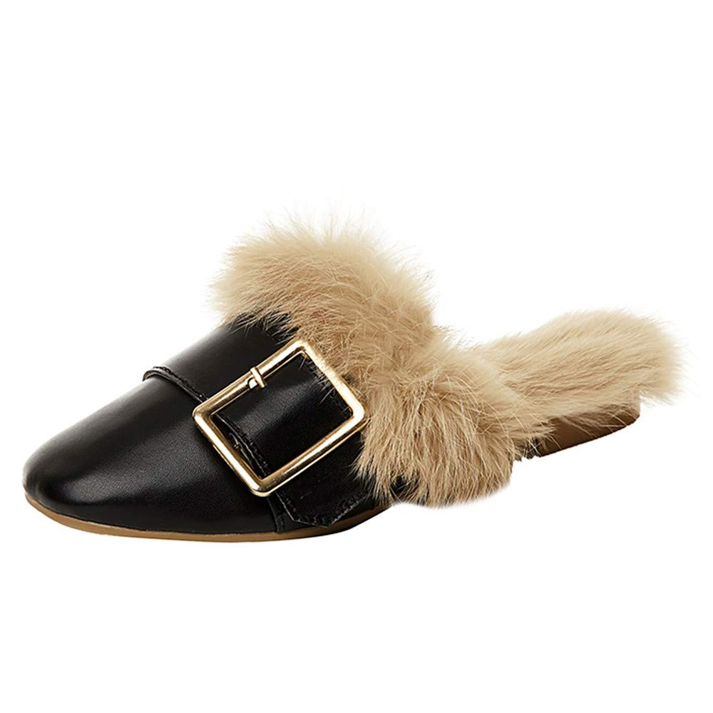 7835ca067 Amazon.com  BETTERUU Women s Ladies Fashion Warm Slip On Buckle Faux Fur  Pointed Toe Shoes Slippers  Shoes