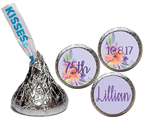 Watercolor Flower Stickers for the Bottom of Chocolate Kisses, Personalized (Set of ()