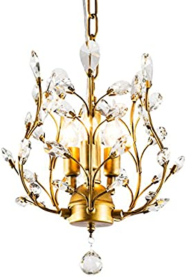 Garwarm 3-Light Crystal Chandeliers,Ceiling Lights,Crystal Pendant  Lighting,Ceiling Light Fixtures for Living Room Bedroom Restaurant  Porch(Bronze)