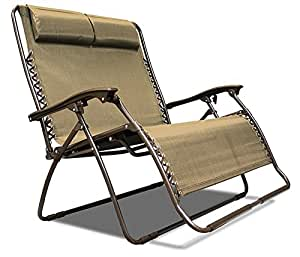 Caravan Sports Zero Gravity Chair Loveseat Beige Patio Lawn Garden