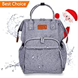 TOMOUNT Diaper Bag, Multi-Function Waterproof Travel Backpack Nappy Bags for Boys and Girls, Large Capacity, Stylish and Durable, with Extra Gifts (2 Stroller Straps and 1 Changing pad)