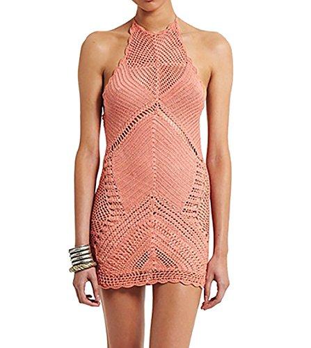 Bestyou Women's Crochet Knit Halter Beach Cover up Backless Dress - Dress Crochet