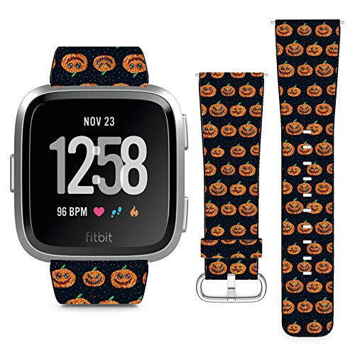 Compatible with Fitbit Versa // Leather Replacement Bracelet Strap Wristband with Quick Release Pins // Halloween Pixel Art]()