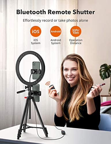 "TaoTronics 12"" Selfie Ring Light with 3 Color Modes, 10 Adjustable Brightness, 61"" Extendable Tripod Stand, 2 Phone Holders, Bluetooth Remote Shutter for Photography/Makeup/Live Stream/YouTube/Vlogs"