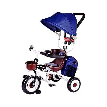 Bicicleta 4 en 1 Bicicleta para niños 3 Ruedas Carrito de bebé Plegable Protección de Freno Doble Cochecitos para niños Niño Trike Toldo Triciclo para niños ...