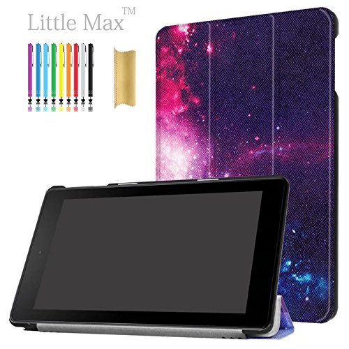 02 Leather Carrying Case - HD 8 Case,LittleMax(TM) PU Leather Lightweight Case Folding Stand Cover with Auto Wake / Sleep Slim Shell for Amazon Kindle Fire HD 8 (6th Gen 2016 & 7th Gen 2017) 8