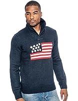 True Rock Men's American Flag Knit Long Sleeve Sweater-NavyBlue