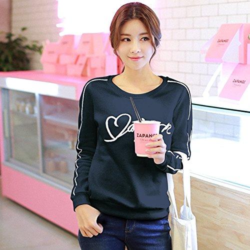 noir grand Xuanku T-Shirt LÂche Lettre Brodée Fines Tous Les étudiants-Match sweat à capuches