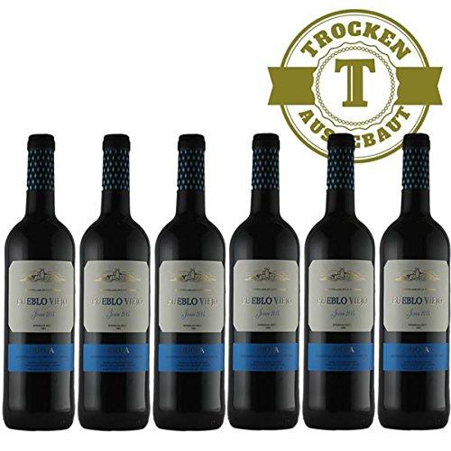 Rotwein Spanien Rioja Pueblo Viejo Tempranillo 2015 halbtrocken (6 x 0,75l) - VERSANDKOSTENFREI -