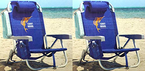 Tommy Bahama 2 Pack Backpack Beach Chair Blue with Sailfish Logo