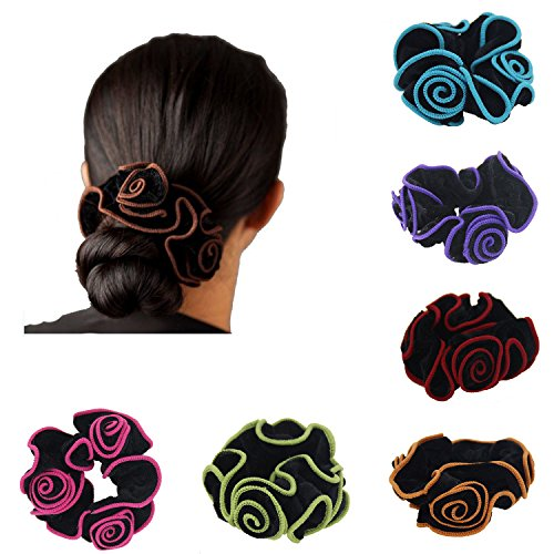Ever Fairy 6Pcs Women Hair Scrunchies Floral Print Cotton Headbands for Sport or Daily Wear (6 Color pack F) by Ever Fairy