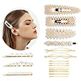 17PCS Pearl Hair Clips for Women Girls, Fashion Sweet Artificial Pearl Alligator Clips Barrettes Bobby Pins Snap Clips Decorative Hair Accessories for Party Wedding Daily