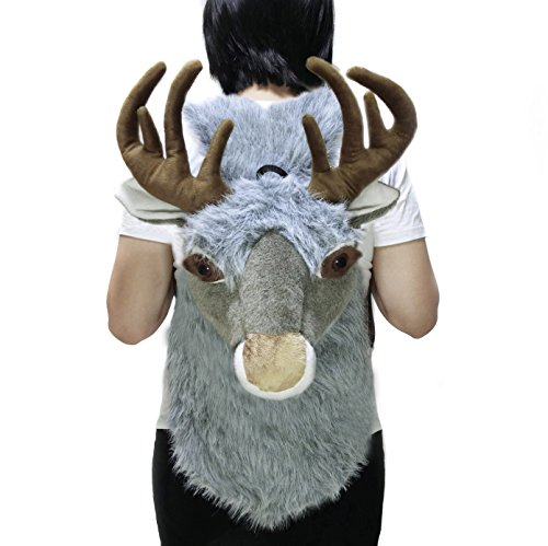 Novelty Animal Backpack for Women Men and Kids, Christmas Decorations (Moose - grey)