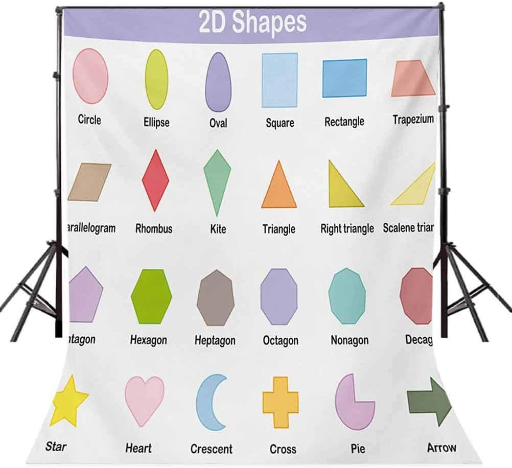 Educational 6x8 FT Photography Backdrop Classical Basic 2D Shapes Colorful Design Cartoon Style Children Learning Study Background for Child Baby Shower Photo Vinyl Studio Prop Photobooth Photoshoot
