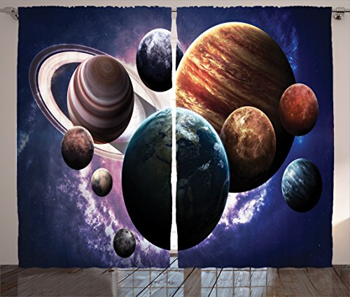 Space Decorations Curtains by Ambesonne, Solar System Planets All Together in Space Mercury Jupiter Globe Saturn Universe Concept, Living Room Bedroom Decor, 2 Panel Set, 108 W X 84 L Inches, Multi by Ambesonne