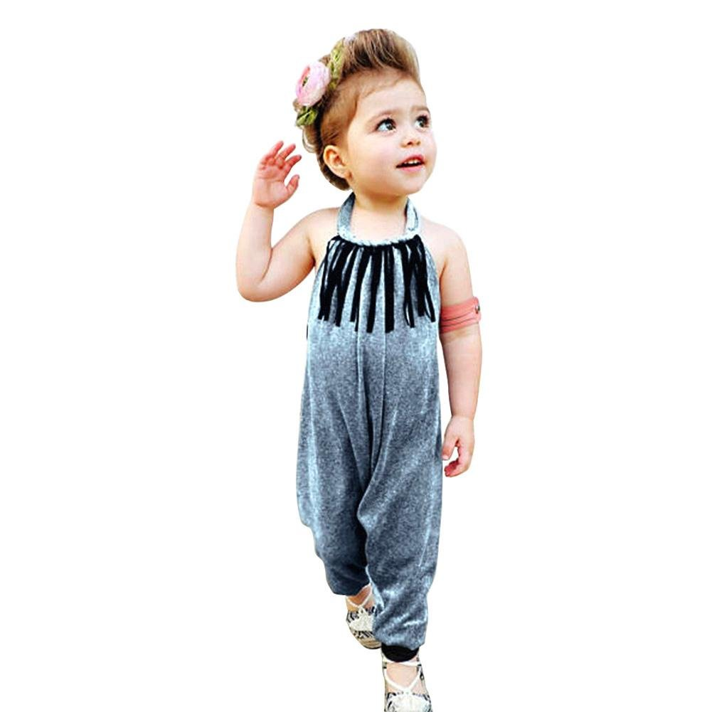 Chinatera Baby Girl Halter Harem Romper One Pieces Jumsuit Toddler Girls Summer Beachwear Velvet Tassel (Night Blue, 5T/6T)