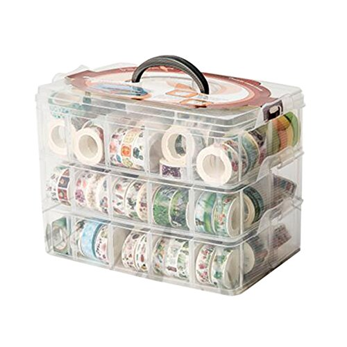 HomDSim Washi Tape Box Organizer Storage,Divider Closet Container,with 30 Adjustable Compartments,Clear,Masking Tape Desktop Tape DIY Sticker Roll Tape Cutter Holder Storage,Finger Safty Dispenser