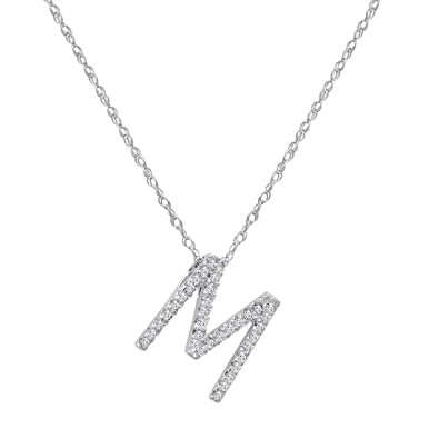 Amazon 14k white gold diamond m initial pendant 16 necklace 14k white gold diamond quotmquot initial pendant 16quot necklace mozeypictures Image collections