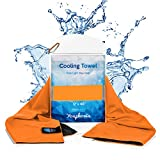 Youphoria Cooling Towel – a Perfect Cooling Towel for Hot Weather, Over Heating, Sports, and Fatigue - Waterproof Carry Case Included - 1PK - Orange
