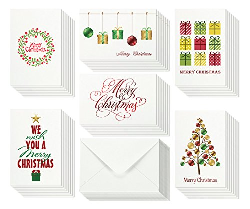 (48 Christmas Cards Bulk Assortment Set – 6 Unique Merry Christmas Designs with Blank Inside – 4 x 6 Inch Cards Include Envelopes and Card Boxed)