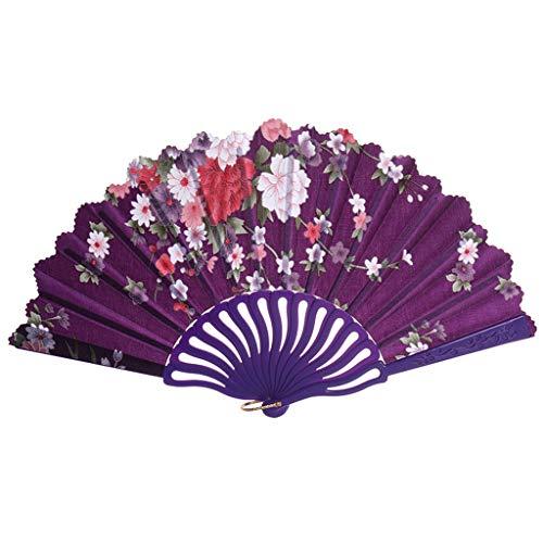 Holzkary Chinese Style Vintage Folding Hand Held Fan/Paper Fan/Feather Fan/Sandalwood Fan/Bamboo Fans for Wedding, Party, Dancing(24cm.Purple)