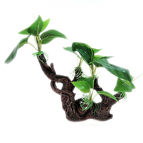 (pranovo Reptile Resin Tree Root Climbing Branch Hiding Jungle Vines Aquarium Ornament Landscape Decor with Realistic Vine Leaf for Crested Gecko Lizard Spider Scorpion Snake)