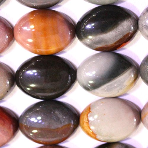 - 5pcs Natural Gemstone Oval 1318mm Cabochons for Jewelry Making Beads Cabs (Ocean Agate)