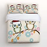 Libaoge Christmas 4 Piece Bed Sheets Set, Lovely Cartoon Bird Trees Owl Wearing Christmas Hat Print, 1 Flat Sheet 1 Duvet Cover and 2 Pillow Cases for Kids