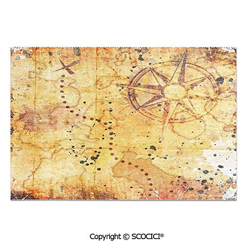(SCOCICI Place Mats Set of 6 Personalized Printed Non-Slip Table Mats Antique Treasure Map Grunge Rusty Style Parchment Print History Theme Boho Design for Dining Room Kitchen Table Decor)