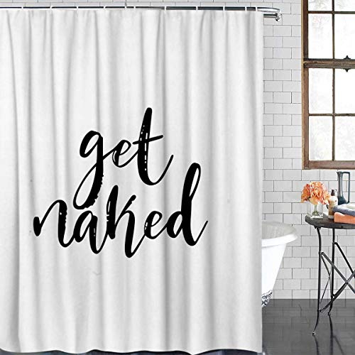 Z&L Home White Shower Curtains Bathroom Decorations-Get Naked Black Script Shower Curtain with Hooks Polyester Fabric 60x72Inches