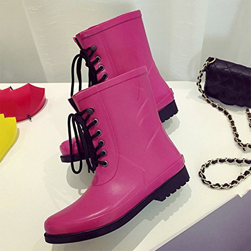 Women's rain boots NAN Spring And Summer Models In The Tube Ladies Lace Boots Women's Shoes Rubber Shoes (Color : Brown, Size : EU38/UK5.5/CN38) Pink