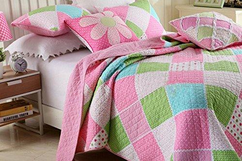 3-Piece Stitching Diamond Polka Dot Floral Patchwork Bedspread Quilt Set for Girls Children Kids Queen
