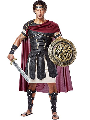 California Costumes Men's Roman Gladiator Adult, Black/Burgundy, (Greek Warrior Adult Costumes)