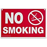 ADVANTUS No Smoking Sign, 12 x 8 Inches, Red/White (83639)