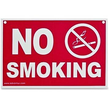 Amazon.com : ADVANTUS No Smoking Sign, 12 x 8 Inches, Red/White ...